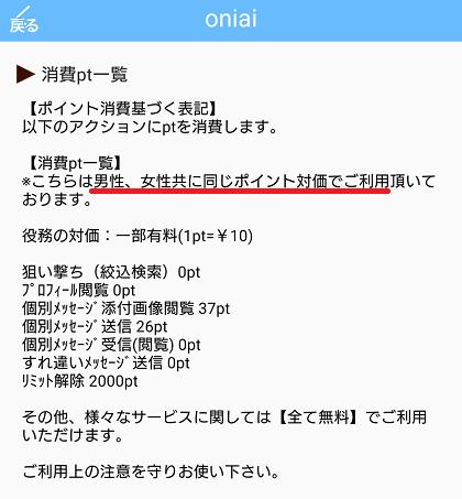 Oniaiの料金表